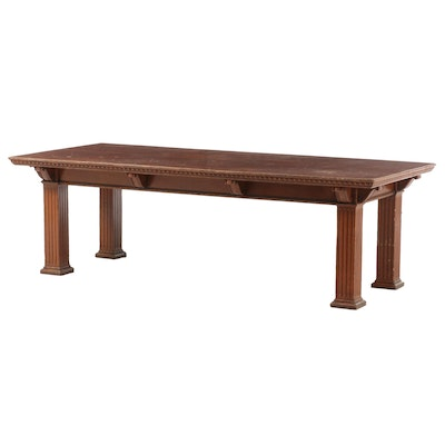 Neoclassical Style Carved and Quartersawn Oak Dining Table, Early 20th Century