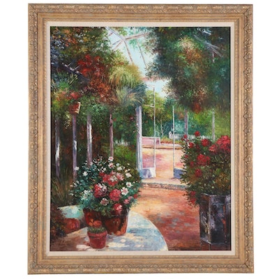 Impressionist Style Oil Painting of Greenhouse Flower Garden