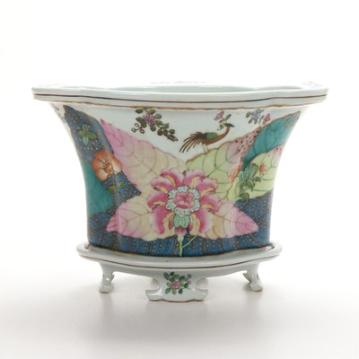 Chinese Export Tobacco Leaf Pattern Ceramic Planter and Undertray