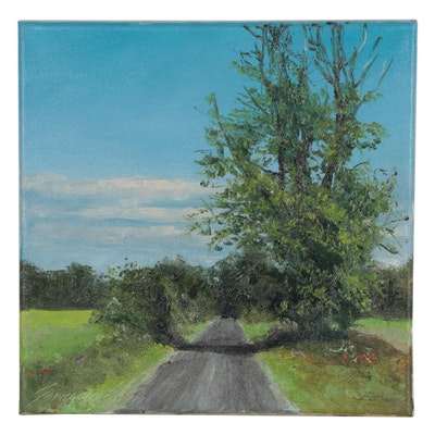 "Garncarek Aleksander Landscape Oil Painting ""Droga,"" 2021"
