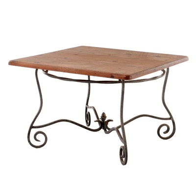 Distressed Pine Table with Scrolled Wrought Iron Base