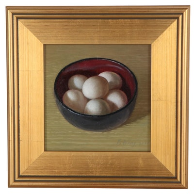 Y. Wang Still Life Oil Painting of Eggs in Bowl, 2020