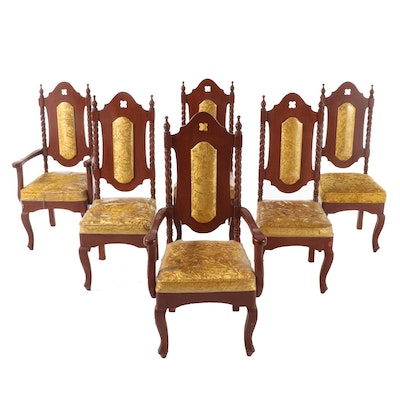 Renaissance Style Mahogany Dining Chairs in Gold Crushed Velvet
