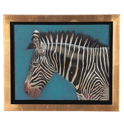Y. Zeng Oil Painting of Zebra, 21st Century