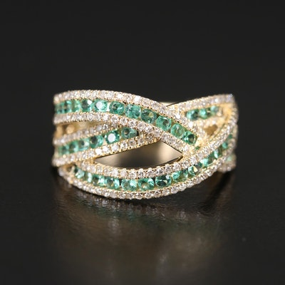 EFFY 14K Emerald and Diamond Criss-Cross Ring
