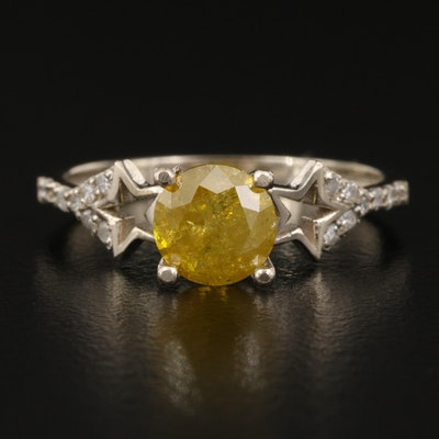 14K 1.17 CTW Diamond Ring with Star Shoulders