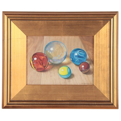 Gary Matthews Photo-Realist Oil Painting of Marbles