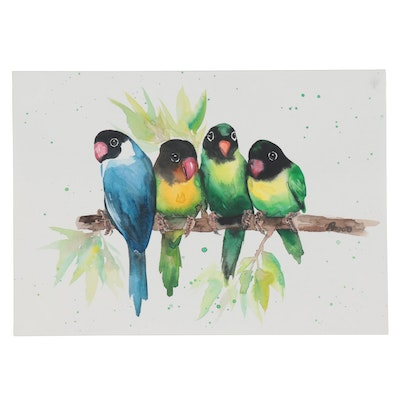 Anne Gorywine Watercolor Painting of Black-Masked Lovebirds
