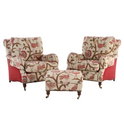 Vanguard Crewel Embroidery Upholstered Lounge Chairs with Ottoman