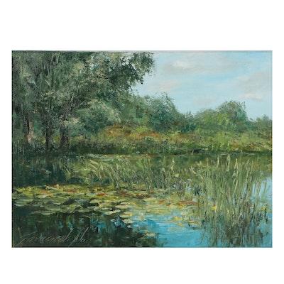 "Garncarek Aleksander Landscape Oil Painting ""Nad Woda (Over the Water)"""