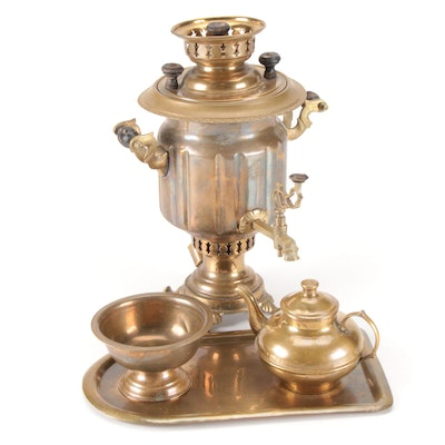 Garanti Semaverleri Turkish Brass Samovar with Drip Tray, Bowl, and Teapot