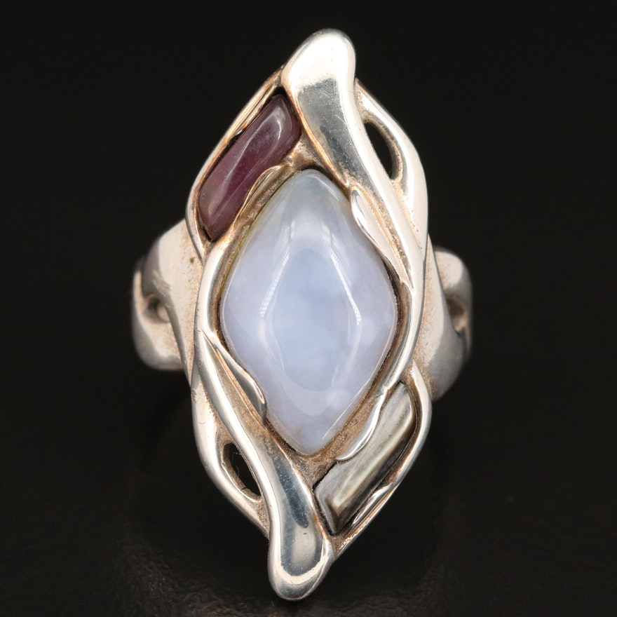 Carolyn Pollack for Relios Sterling Mother of Pearl, Agate and Amethyst Ring