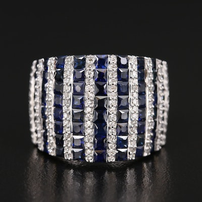 EFFY 14K Sapphire and Diamond Multi-Row Ring