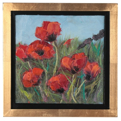 Gerri Obrecht Oil Painting of Poppies, 21st Century