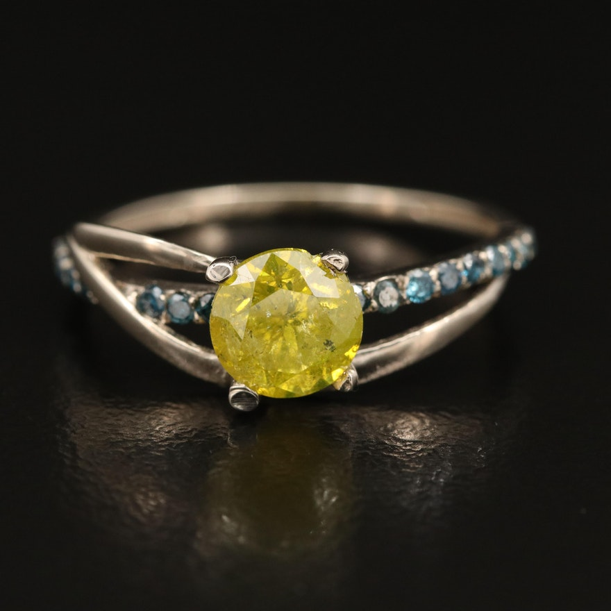 14K 1.22 CTW Diamond Crossover Ring