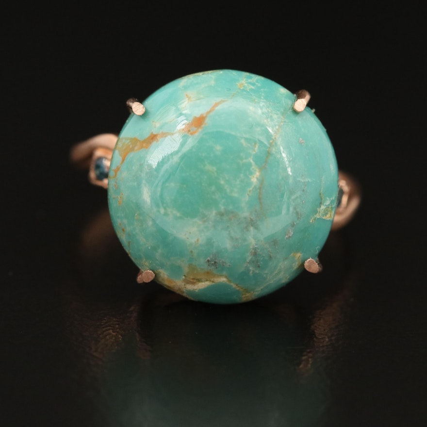 14K Turquoise and Blue Diamond Ring