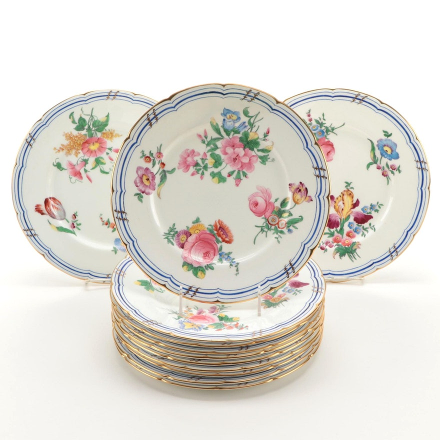 """English Coalport China """"Old Coalport"""" Dinner Plates, Late 19th/ Early 20th C."""