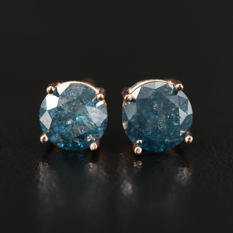 14K Rose Gold 1.71 CTW Diamond Stud Earrings