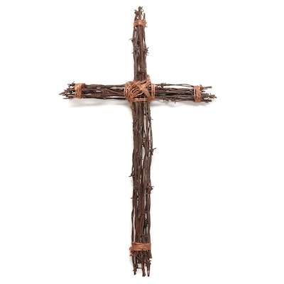 Barbed Wire and Copper Metal Cross, 20th Century