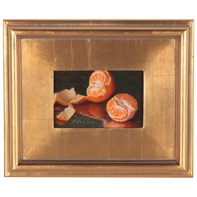 Youqing Wang Still Life Oil Painting of Peeled Oranges