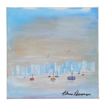 Elaine Neumann Cityscape Acrylic Painting with Sailboats, 21st Century