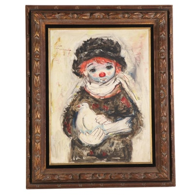 Ozz França Oil Painting of Clown Holding Dove, Mid to Late 20th Century
