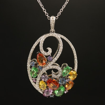 EFFY 14K Sapphire, Tsavorite and Diamond Pendant Necklace