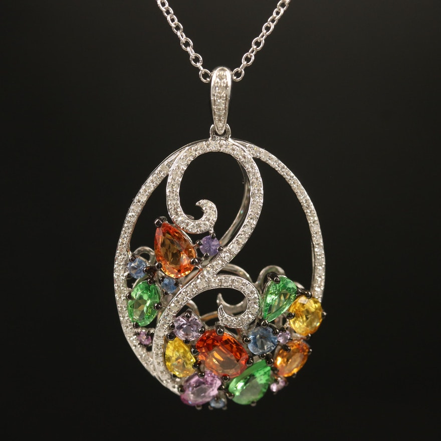 EFFY 14K Sapphire, Tsavorite and Diamond Pendant Necklace