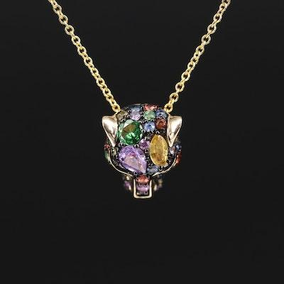 EFFY 14K Sapphire and Tsavorite Feline Pendant Necklace