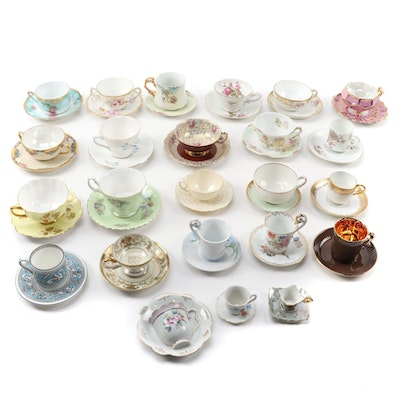 Occupied Japan and Other China Tea Cups and Saucers, Mid to Late 20th Century