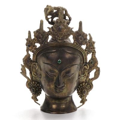 Brass Bust of Bodhisattva Head