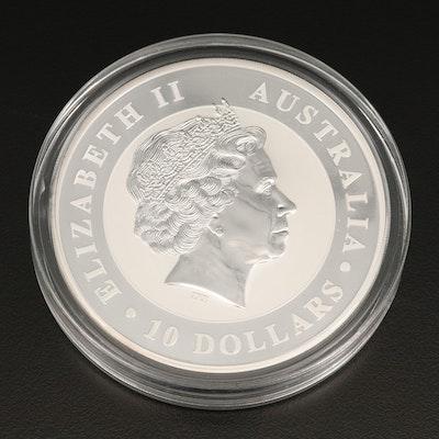 .999 Fine Silver 10 Troy Ounce Proof Australian Kookaburra $10 Round, 2016