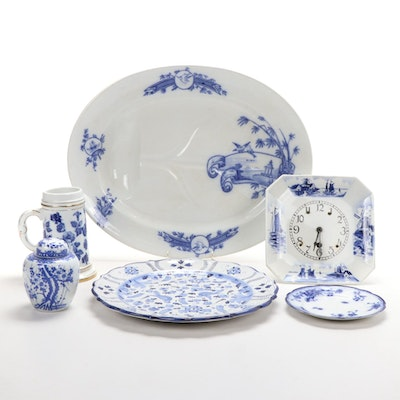 "Grove and Stark ""Nankin"" Ironstone Platter and Other Blue and White Tableware"