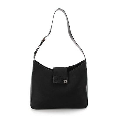 Salvatore Ferragamo Gancini Lock Bag in Black Leather and Textile