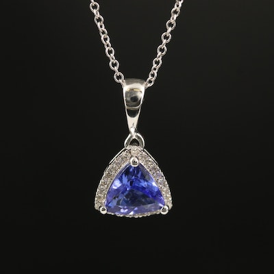 EFFY 14K Tanzanite and Diamond Triangular Pendant Necklace
