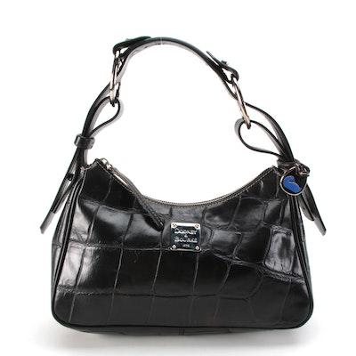Dooney & Bourke Hobo Bag in Black Crocodile Embossed Leather