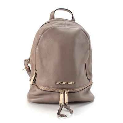 MICHAEL Michael Kors Rhea Medium Backpack Purse in Taupe Pebbled Leather