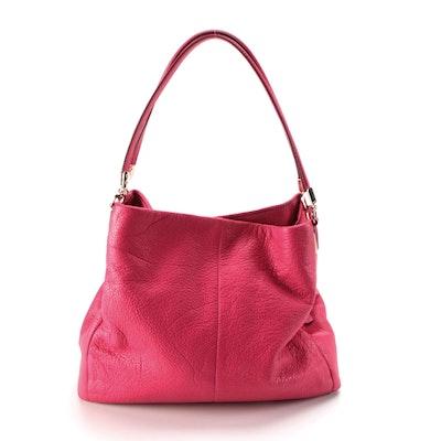 Coach Hot Pink Grained Leather Shoulder Bag