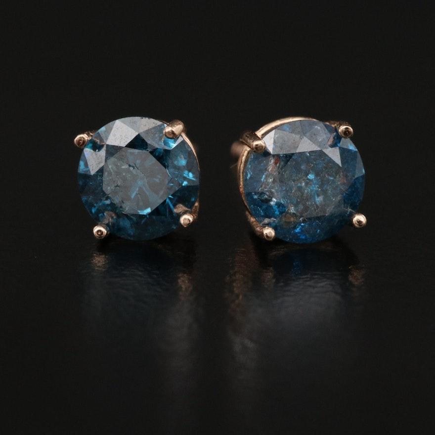 14K 1.65 CTW Blue Diamond Stud Earrings