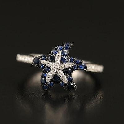 """EFFY """"Seaside"""" 14K Diamond and Sapphire Starfish Ring"""