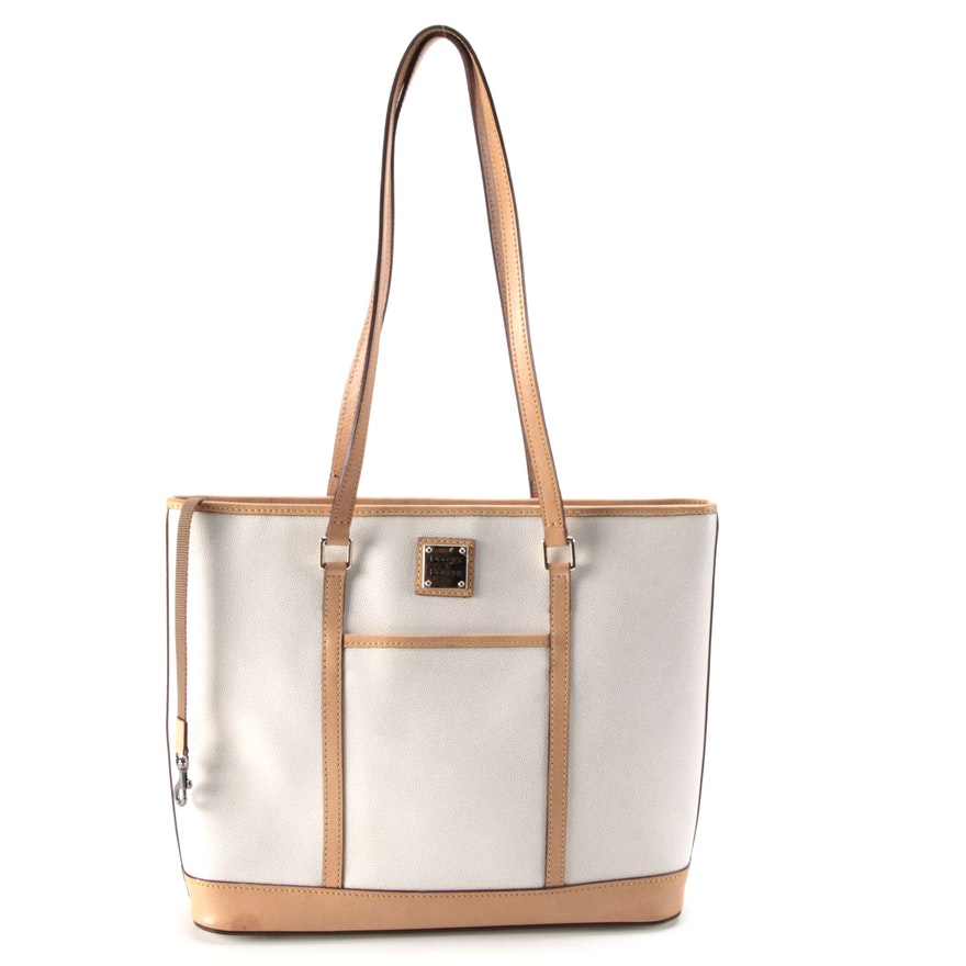 Dooney & Bourke Two-Tone Shoulder Tote in Pebble Grain and Smooth Leather