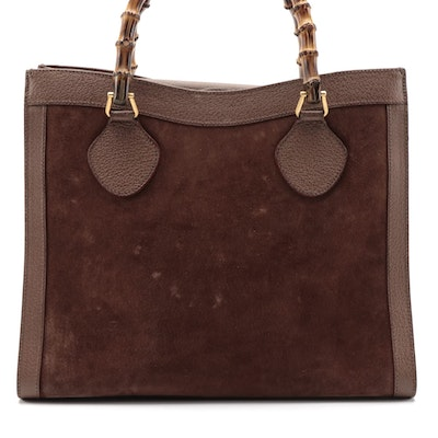 Gucci Diana Bamboo Shopper Tote in Brown Leather and Suede