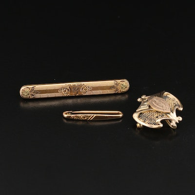 Victorian Brooches Including Watch Pin