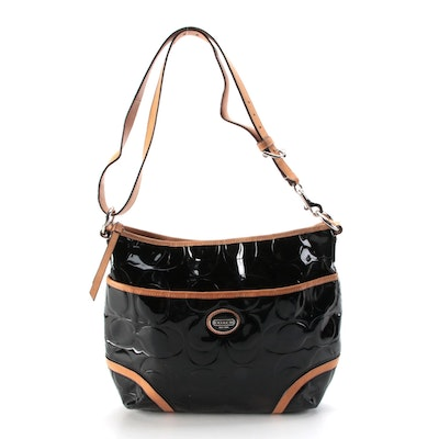 Coach Peyton Embossed Black Patent Leather Hobo Bag with Tan Leather Trim