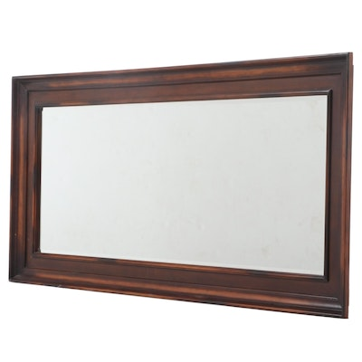 Large Stained Wood and Faux-Leather Mirror