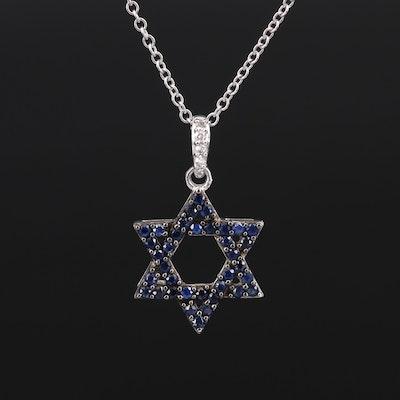 EFFY 14K Sapphire and Diamond Star of David Pendant Necklace
