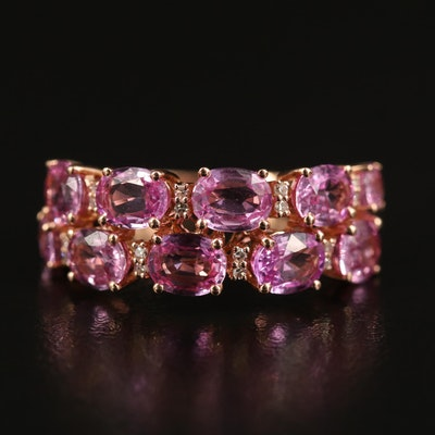 EFFY 14K Pink Sapphire and Diamond Double Row Ring