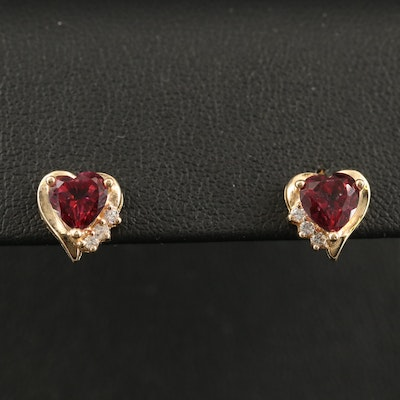 10K Topaz and Cubic Zirconia Heart Earrings