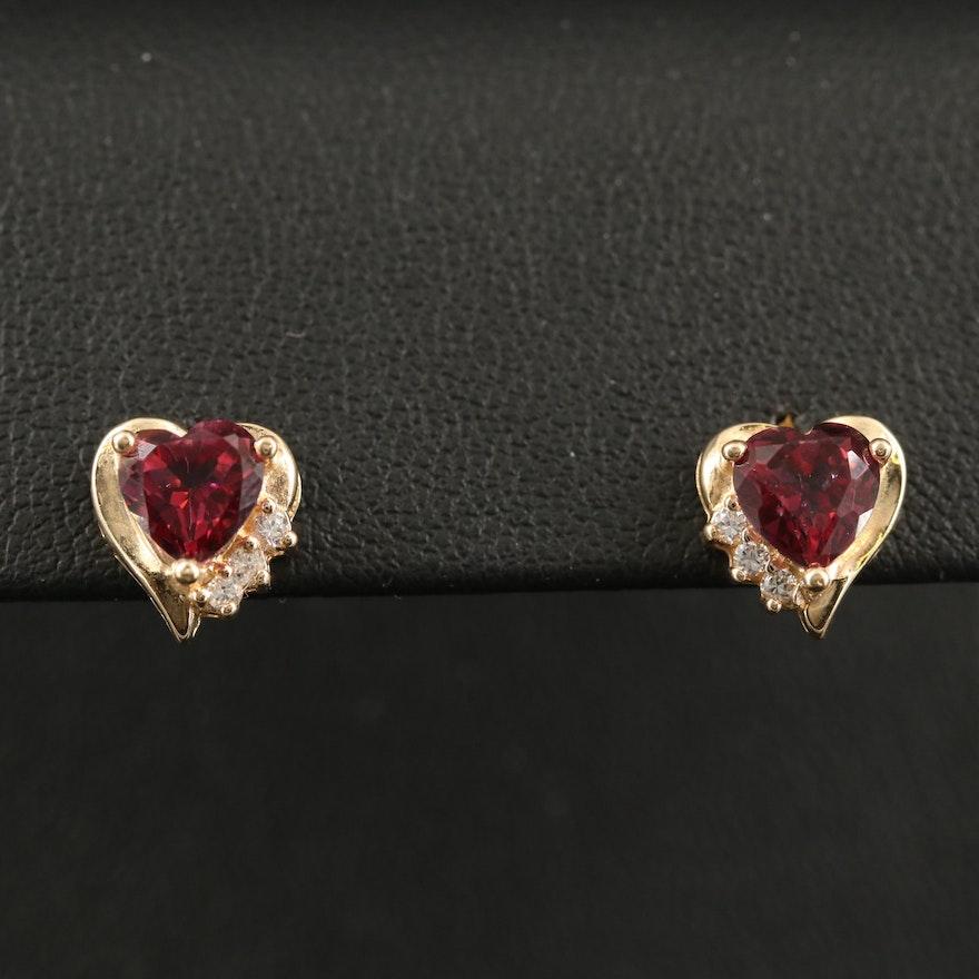 10K Topaz and Cubic Zirconia Heart Earrings