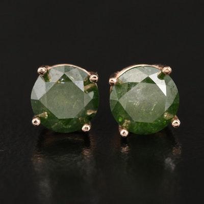 14K 1.54 CTW Green Diamond Stud Earrings
